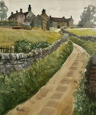 Watercolour of Derbyshire cottages by HUGH KNOLLYS (1918-2006) Naval artist