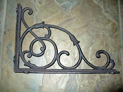 Cast Iron Set/2 Large Vine Bracket Brace Home Wall Shelf Table Yard Garden Decor