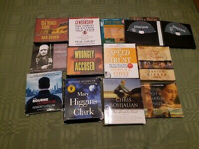 Audiobook on CD lot Suspense Dan Brown Bourne Mary Higgins Clark