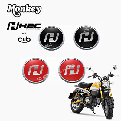 2Pcs. H2C LOGO EMBLEM (L-R) BLACK RED GENUINE FOR NEW HONDA Z125 MONKEY 125