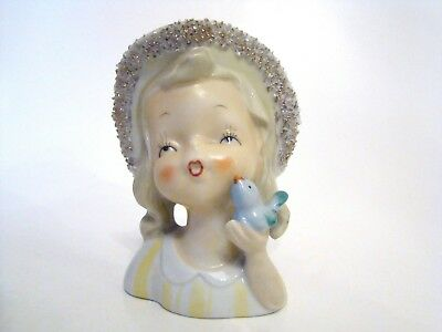 Vintage 1960's Lady Head Vase Beautiful Girl in Hat Holding a Bluebird