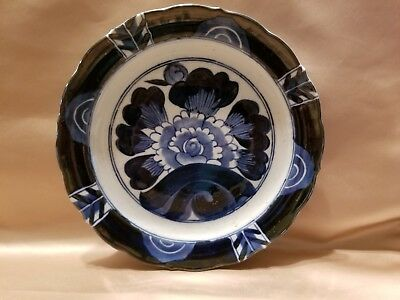 """Beautiful Blue & White Asian Antique Plate Possibly Imari Makers Mark on Back 9"""""""