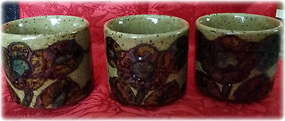 Lot of 3 Asian Style Tea Cups Speckled with Brown Hand Painted Flowers