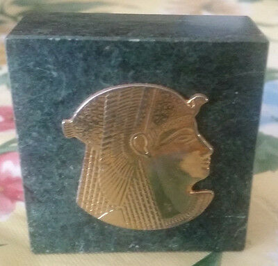 Vintage Egyptian Style Pharoah Head In Gold Tone Mounted On Green Marble Square