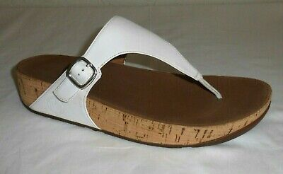18452b863 FitFlop The Skinny Size 11   43 White Leather   Cork Thong Sandals 383-194