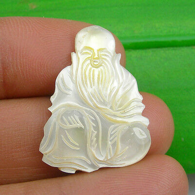 28x21mm Chinese 3 Wise Men Gods Longevity Carving Pendant Mother Of Pearl, Sau2