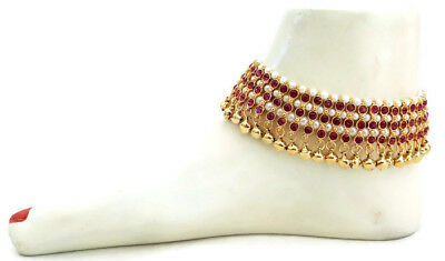 Anklets Indian Wedding Bridal Gold Plated Ethnic Rhinestone Pearl Payal Anklets Jewelry