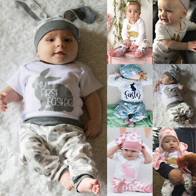 Newborn Baby Girl Boy Cartoon First Easter Bunny Outfits Romper Hat Pant Set AU