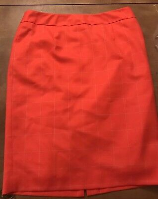 Pendleton Woolen Mill Light Weight Check Wool Pencil Peach/Orange Skirt 10