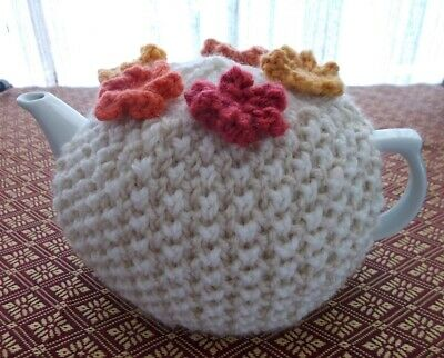 Tea Cosy - Hand Knitted 4 Cup Tea Cosy In Beige & White.