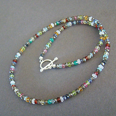 U&C Sundance Rainbow Gemstones Mystic Smoky Quartz .925 Sterling Silver Necklace