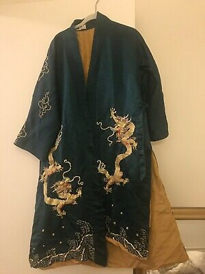 Antique 1970's Asian Chinese Hand Silk Embroidered Dragon Robe Kimono