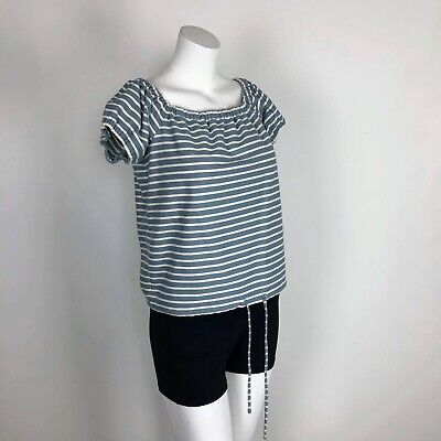 87be7eed6f Women L Madewell Melody Stripe Blue White Tee Top Blouse Off-Shoulder Tie  Front