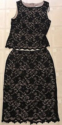 SL Fashions Wmns Sz14 Blk Lace/Nude Illusion 2-pc Top&Skirt Stretch/Sexy/Dressy