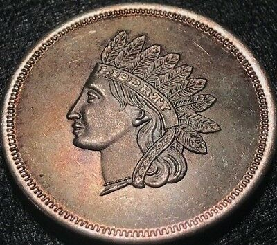 Vintage Toned Indian Head 1 One Troy Oz. Ounce .999 Fine Silver Round Toning