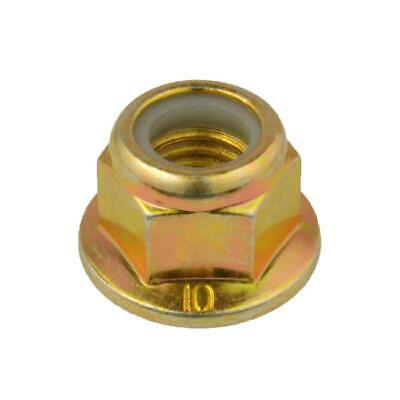 M12 (12mm) x 1.75 pitch Hex FLANGE NYLOC NUT Metric Coarse Class 10 Zinc Yellow