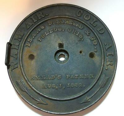 Antique Big Cast Iron Isaac Smead Heating/cooling Dial Toledo Oh. 1882 Steampunk
