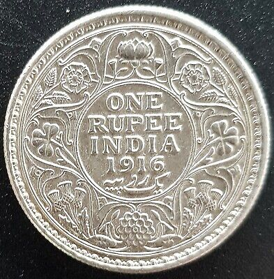 One Rupee 1916 India Silver Coin (Circulated)