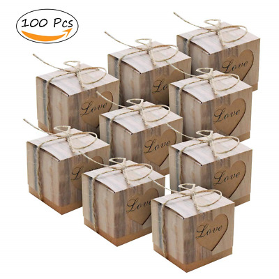 100 pcs Candy Boxes Love Rustic Kraft Bonbonniere+ 100pcs Burlap Twine, Love Bag