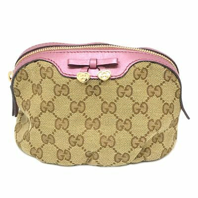 1dbe398c6f0b Authentic Gucci GG Canvas Leather Pouch Case Bag Beige Pink Italy Unisex  Ribbon