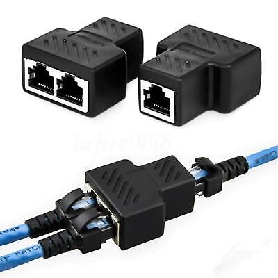 RJ45 Splitter Adapter CAT5CAT6 LAN Ethernet Convertor 1 to 2 Dual Female Port UK