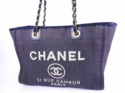 f3ff7b9e0b105a CHANEL Deauville Line MM A67001 Navy Blue Denim Canvas Leather Chain Tote  Bag