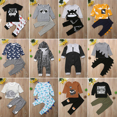 UK Newborn Baby Boy Girls Tops T-shirt Pants Leggings Outwear Clothing Outfits