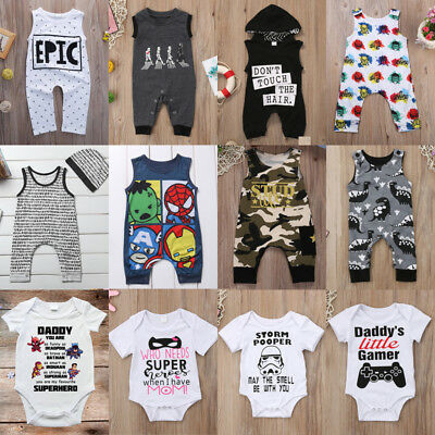 Cotton Newborn Infant Baby Boy Girl Bodysuit Romper Jumpsuit Cartoon Clothes UK
