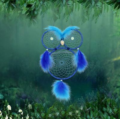 "26"" Handmade Dream Catcher Blue Owl Feathers Wall Hanging Decoration Ornament"