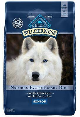 Blue Buffalo Wilderness Grain Free, Natural Senior Dry Dog Food, Chicken - 24LB
