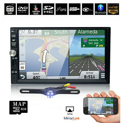 Backup Camera+GPS Double 2Din Car Stereo Radio NO CD DVD Player Bluetooth US MAP