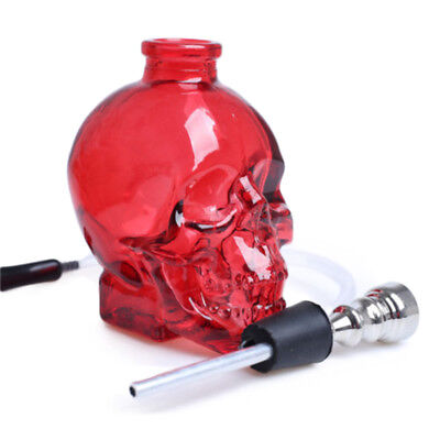 3.4''H Red Skull Shaped Glass Water Smoking Hookah Bubbler Cigar Tobacco Pipes