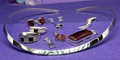 Sterling Silver 925 Mixed Bundle - Red - 9 Brand New Items - Rings, Pendants Etc