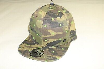 sports shoes 7c1b6 6b604 NO BAD IDEAS NBI - Camo Green Snapback Hat Cap with Pot Leaf - ONE SIZE