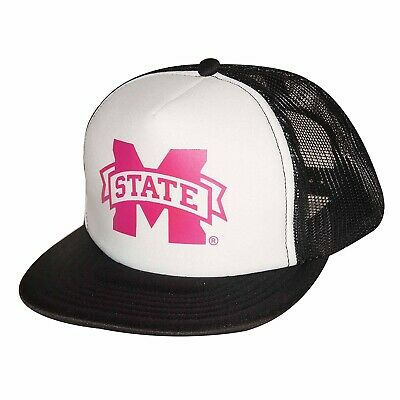 e00fb74ee1383 MISSISSIPPI STATE BULLDOGS Ouray Sports NCAA Pink Black White Mesh Truckers  Hat