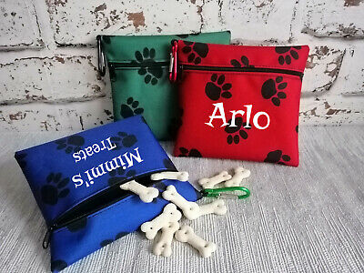 dog treat bag with paw print dog snack bag  easy to attach 3 colours