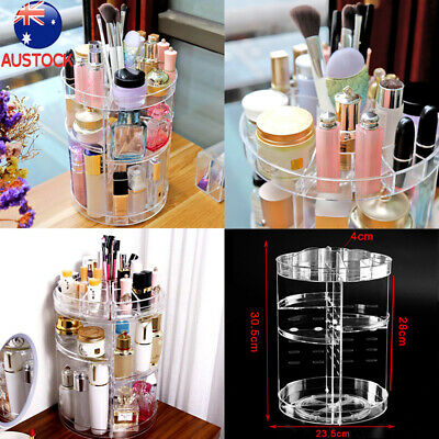Acrylic Makeup Organiser 360° 3 Layer Rotating Clear Cosmetics Holder Storage T