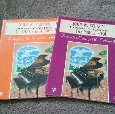 John W Schaum Piano Course Books C Orange & D Purple