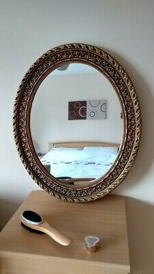 Wall Hanging Oval Mirror Antique Rustic Old Gold Vintage