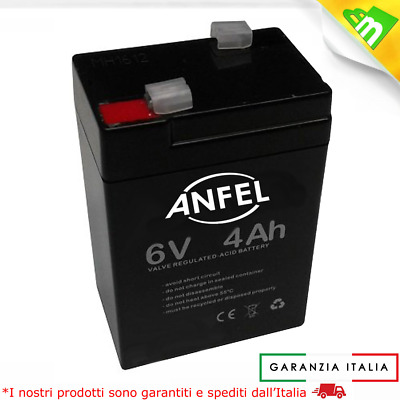 BATTERIA ERMETICA PIOMBO AGM 6V 4Ah 4,5Ah RICARICABILE SEALED LEAD ACID BATTERY