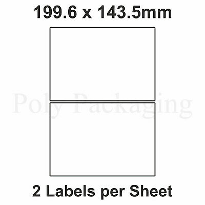 A4 Printer Labels(2 PER SHEET)(199.6x143mm) Self Adhesive Address Any Qty