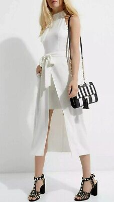 River Island New Womens Cream Off White Midi Summer Holiday Going Out Dress 6-18