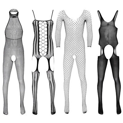 Sexy Mens Full Body Fishnet Pantyhose Lingerie Crotchless Body-Stocking Jumpsuit