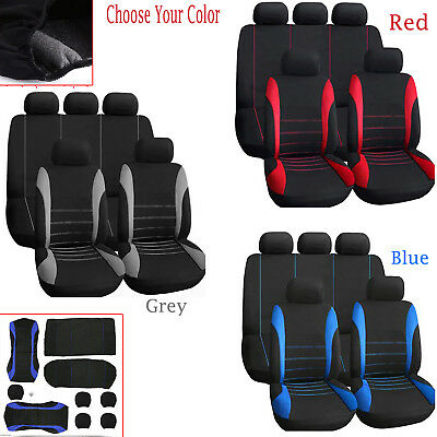Universal Car Full Seat Covers Set Sporty Washable Airbag Compatible 9 Pieces