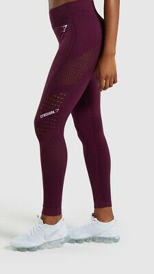 f0b6fe18619ac GYMSHARK FLAWLESS KNIT Tights In Ruby Size Small - £37.00 | PicClick UK