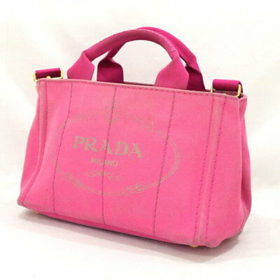 9f57d941200c PRADA B2439G 2WAY Shoulder Hand Bag Mini Canapa FUXIA Fuchsia Canvas Pink  Used