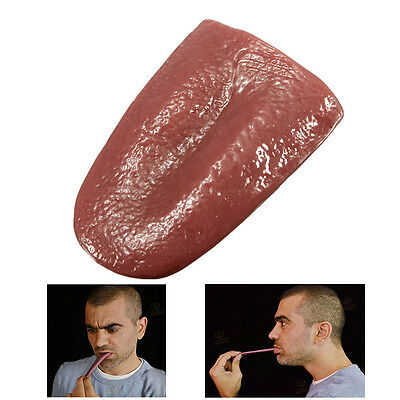 Novel Halloween Joke Prank Realistic Pierced Fake Tongue Close Magician Prop DIY