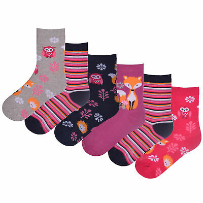 Girls 6 Pack Design Socks Fox Owl Cotton Rich Bright Pink with Metallic Detail