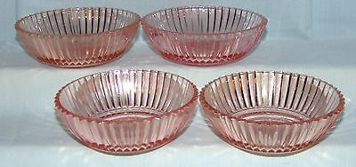 """4 Anchor Hocking QUEEN MARY PINK *4 1/4"""" BERRY BOWLS*"""