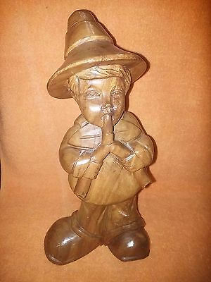 Vintage German Wood Carving - Boy Playing Horned Instrument - Schott Zwiesel